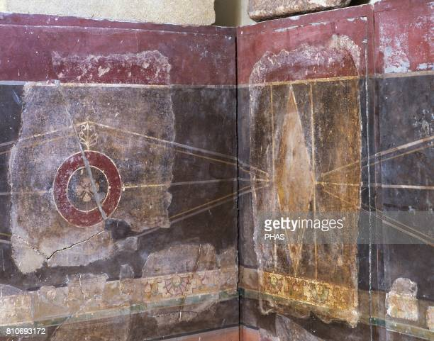 Room of a Roman Villa that existed in the village of La Garriga Wall paintings Roman Age IIIII Centuries La Garriga Episcopal Museum of Vic