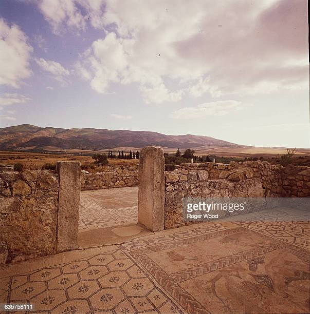 Room of the House of Venus Against the Landscape in Volubilis Morocco