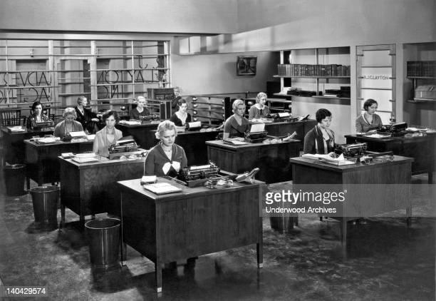 A room of very despondent secretaries United States circa 1925