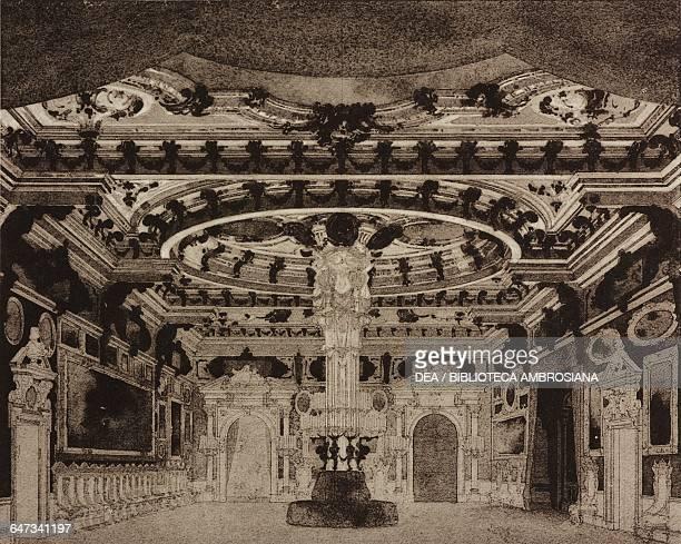 Room with a central column in the Ca 'd'Oro in Venice sketch for Act III Scene IV of the opera La Gioconda by Amilcare Ponchielli Season 1876 from...