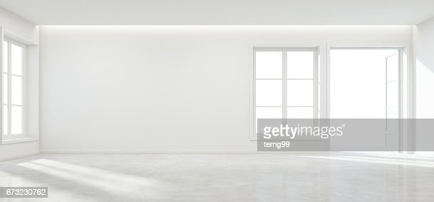 Room with concrete floor and empty wall background in modern house, Luxury white interior of new home : Stock Photo