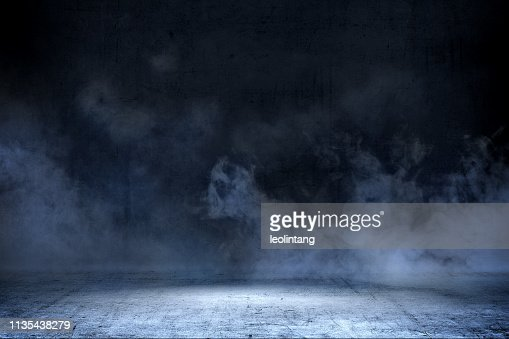 Room with concrete floor and smoke : Stock Photo