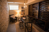 a nice wine cellar / elegant, luxurious / also full of wine