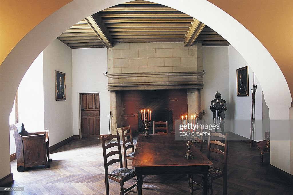 Room with fireplace, Chateau of Montespieu, Naves, Midi-Pyrenees, France.