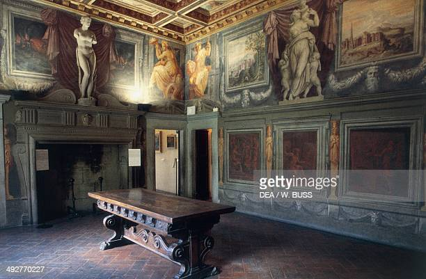 Room with fireplace in the Vasari's house 16th century Arezzo Tuscany Italy