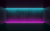 Abstract dark concrete interior background with colorful horizontal neon lights, 3d render illustration