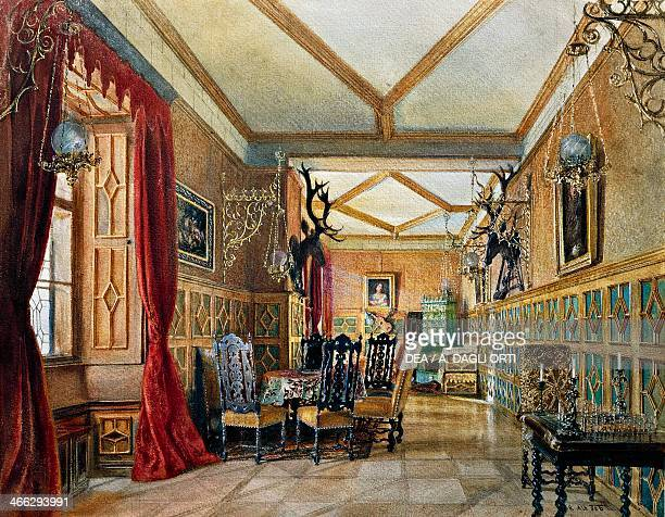 Room with hunting trophies watercolour by Rudolf von Alt