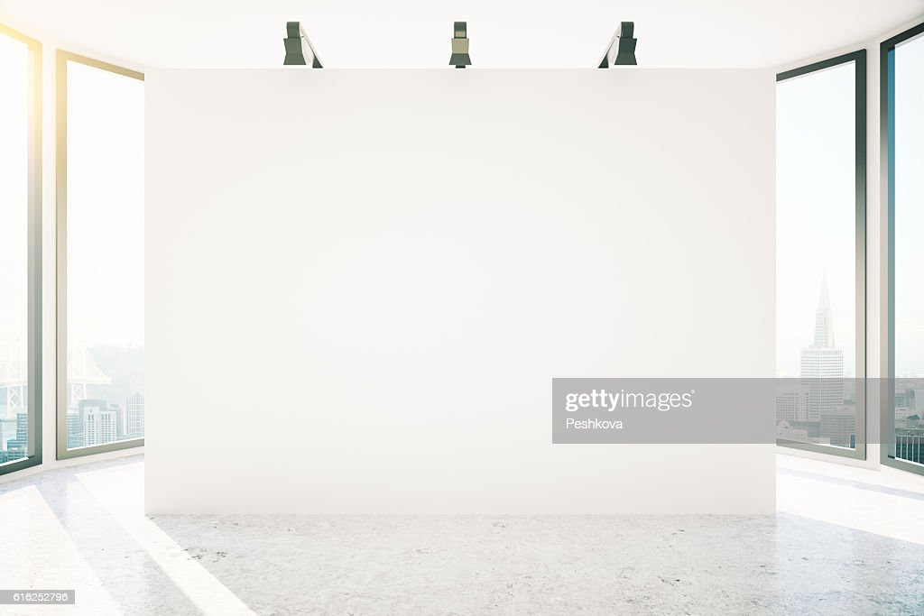 Room with large banner : Stock Photo