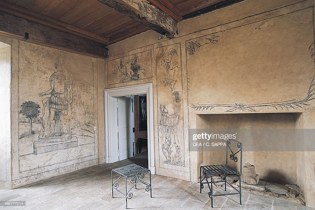 Room with monochrome frescoes, Chateau of Lacapelle-Marival, Midi-Pyrenees, France.
