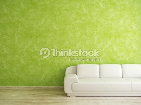 Room with sofa and green wall : Stock Photo