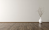 Empty room interior background, white vase with branch on the wooden floor 3d rendering