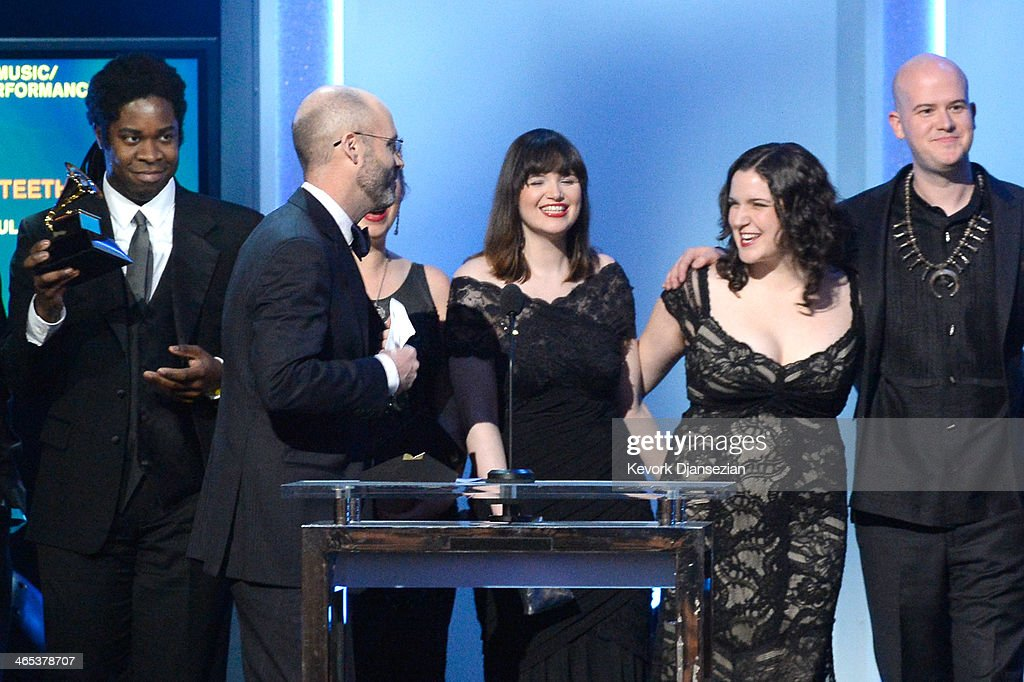 Roomful of Teeth accept the Best Chamber Music/Small Ensemble Performance award for 'Roomful of Teeth' onstage during the 56th GRAMMY Awards Pre-Telecast Show at Nokia Theatre L.A. Live on January 26, 2014 in Los Angeles, California.