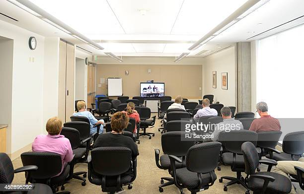 Rooms were so crowded during the EPA public hearings that they set up a room where people could watch the testimonials on video in Denver July 29...
