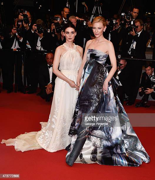 Rooney Mara and Cate Blanchett attend the 'Carol' Premiere during the 68th annual Cannes Film Festival on May 17 2015 in Cannes France