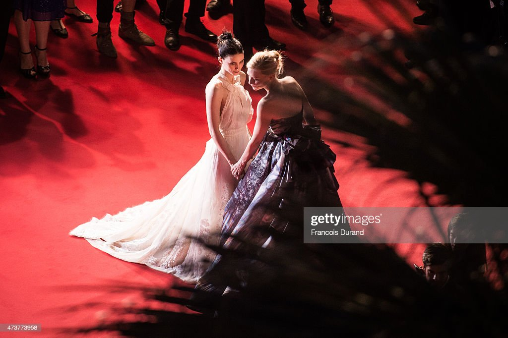 Rooney Mara and Cate Blanchett attend the Premiere of 'Carol' during the 68th annual Cannes Film Festival on May 17, 2015 in Cannes, France.