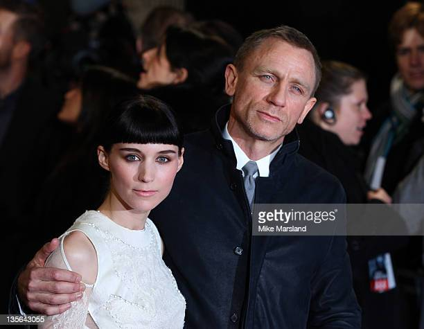 Rooney Mara and Daniel Craig attend 'The Girl With The Dragon Tattoo' world premiere at Odeon Leicester Square on December 12 2011 in London England