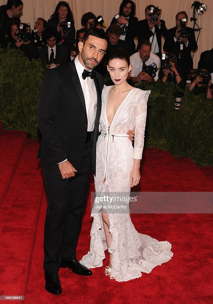 Rooney Mara and Riccardo Tisci attend the Costume Institute Gala for the 'PUNK: Chaos to Couture' exhibition at the Metropolitan Museum of Art on May 6, 2013 in New York City.