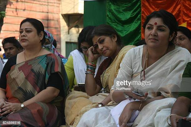 Roopa Ganguly MP and President of Women Cell State BJP Along Actress Loket Chatterjee at the Supporting the efforts for imposition of Uniform Civil...