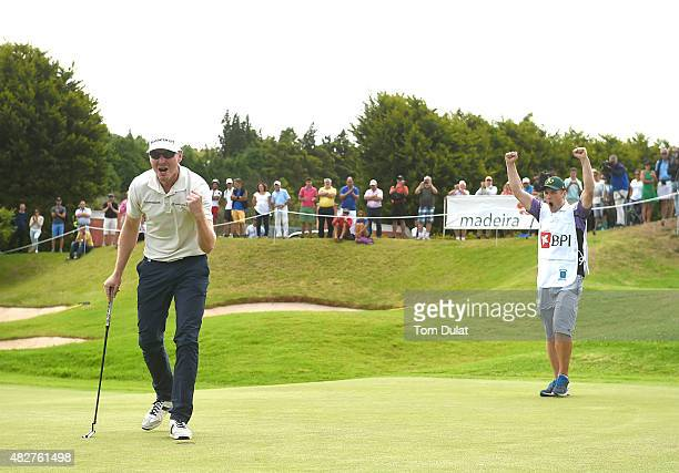 Roope Kakko of Finland celebrates after winning the Madeira Islands Open Portugal BPI at Club de Golf do Santo da Serra on August 2 2015 in Funchal...