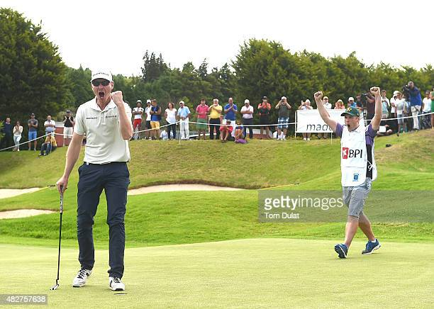 Roope Kakko of Finland celebrates winning the Madeira Islands Open Portugal BPI at Club de Golf do Santo da Serra on August 2 2015 in Funchal Madeira...