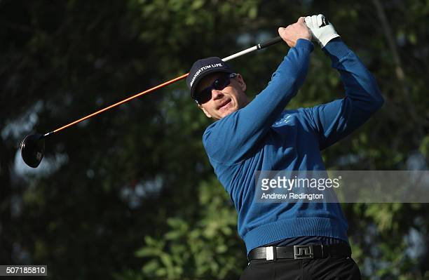 Roope Kakko of Finland hits his teeshot on the sixth hole during the second round of the Commercial Bank Qatar Masters at Doha Golf Club on January...