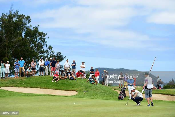Roope Kakko of Finland lines up a putt on the 15th green during day four of the Madeira Islands Open Portugal BPI at Club de Golf do Santo da Serra...