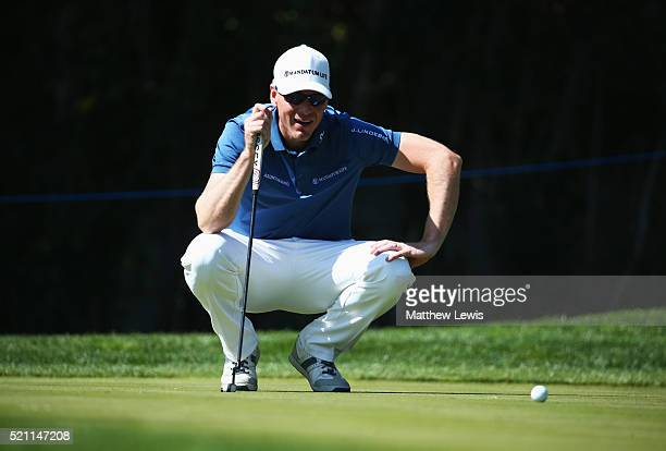 Roope Kakko of Finland lines up a putt on the 2nd green during day one of the Open de Espana at Real Club Valderrama on April 14 2016 in Sotogrande...
