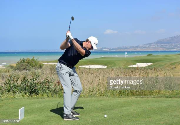 Roope Kakko of Finland plays a shot on the seventh hole during the third round of The Rocco Forte Open at The Verdura Golf and Spa Resort on May 20...