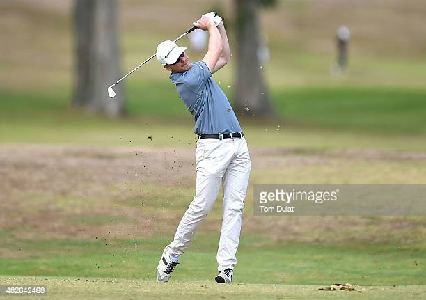 Roope Kakko of Finland takes a shot from the 3rd fairway during day three of the Madeira Islands Open Portugal BPI at Club de Golf do Santo da Serra...