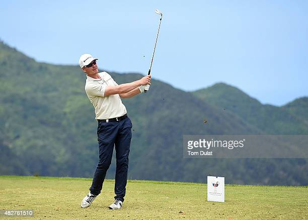 Roope Kakko of Finland tees off from the 17th hole during day four of the Madeira Islands Open Portugal BPI at Club de Golf do Santo da Serra on...