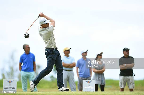 Roope Kakko of Finland tees off from the 7th hole during day four of the Madeira Islands Open Portugal BPI at Club de Golf do Santo da Serra on...