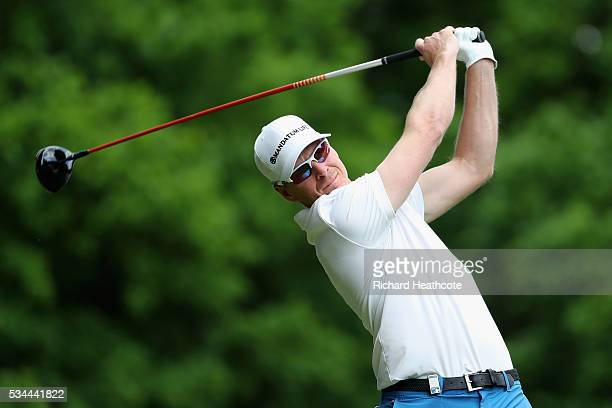 Roope Kakko of Finland tees off on the 3rd hole during day one of the BMW PGA Championship at Wentworth on May 26 2016 in Virginia Water England