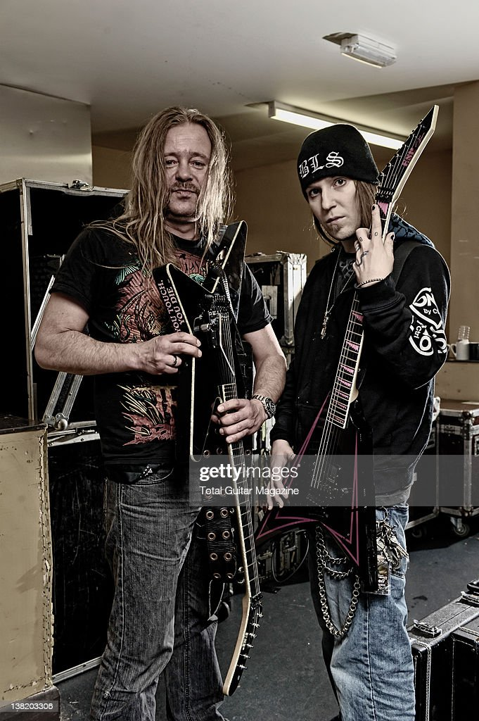 Roope Latvala and Alexi Laiho of Finnish heavy metal band Children of Bodom During a shoot for Total Guitar Magazine April 8 2011