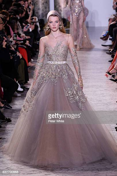 Roos Abels walks the runway during the Elie Saab Spring Summer 2017 show as part of Paris Fashion Week on January 25 2017 in Paris France