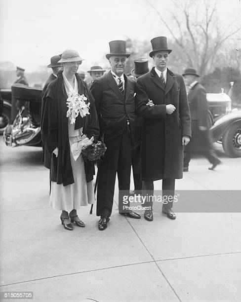 Roosevelt Family from left Eleanor Franklin and their son James Roosevelt on FDR's inauguration day Washington DC March 4 1933