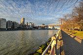 Queensboro Bridge from Roosevelt Island connecting Manhattan to Queens, New York City.