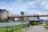 Roosevelt Island, New York City, USA - Manhattan skyline with East River.