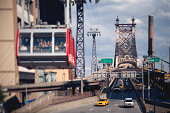 Tram heading to Roosevelt Island from Manhattan with a view of the Queensboro Bridge.  Shot with a tilt shift lens.
