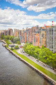 Roosevelt Island waterfront aerial picture, New York City, USA.