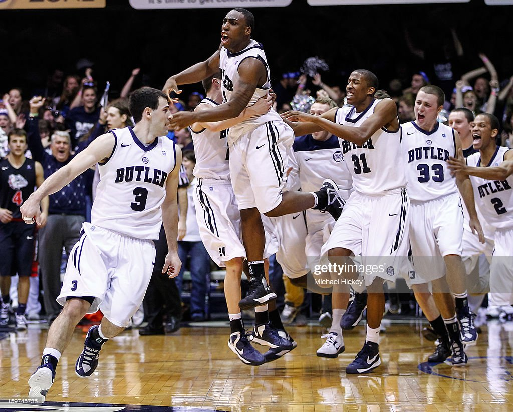 Roosevelt Jones #21 of the Butler Bulldogs celebrates after a last second shot against the Gonzaga Bulldogs at Hinkle Fieldhouse on January 19, 2013 in Indianapolis, Indiana. Butler defeated Gonzaga 64-63.