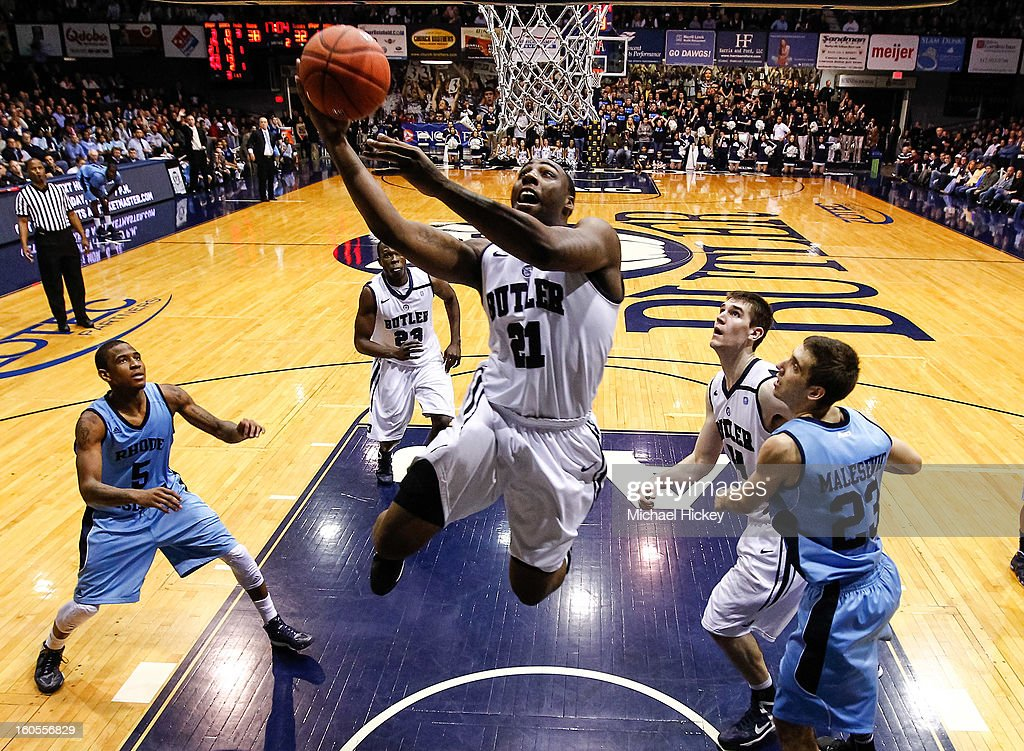 Roosevelt Jones #21 of the Butler Bulldogs goes up for a shot against the Rhode Island Rams at Hinkle Fieldhouse on February 2, 2013 in Indianapolis, Indiana. Butler defeated Rhode Island 75-68.
