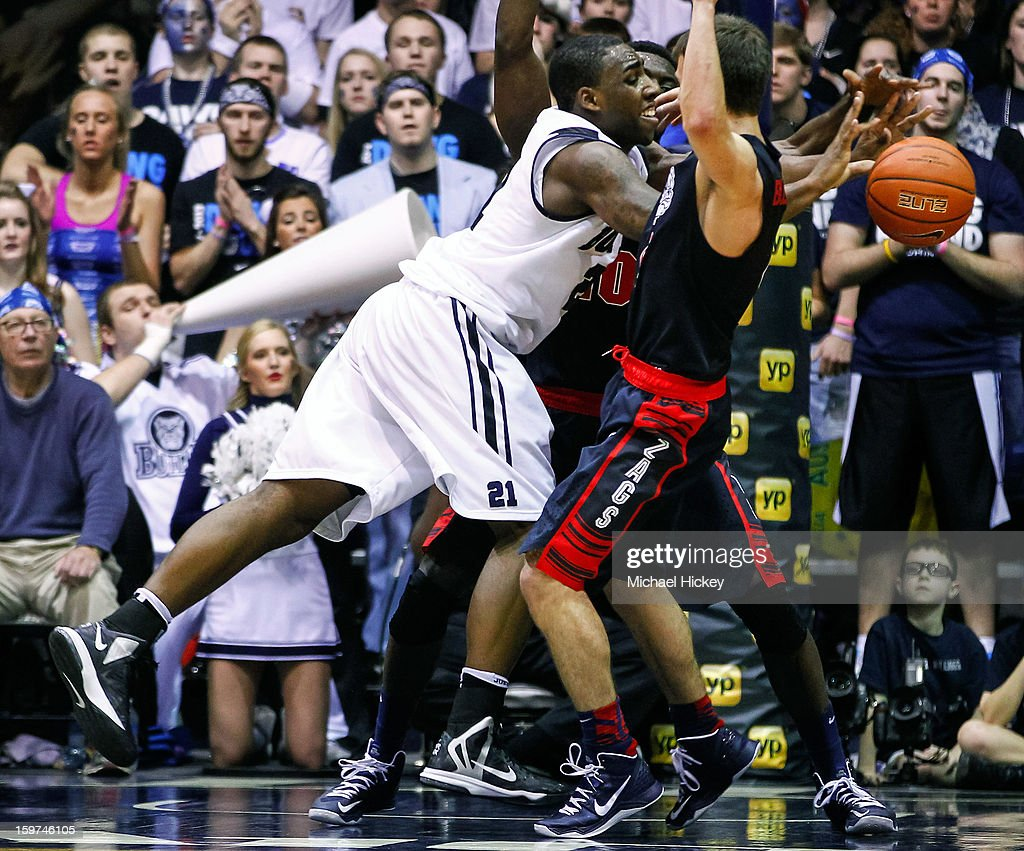 Roosevelt Jones #21 of the Butler Bulldogs passes the ball off against the Gonzaga Bulldogs at Hinkle Fieldhouse on January 19, 2013 in Indianapolis, Indiana. Butler defeated Gonzaga 64-63.