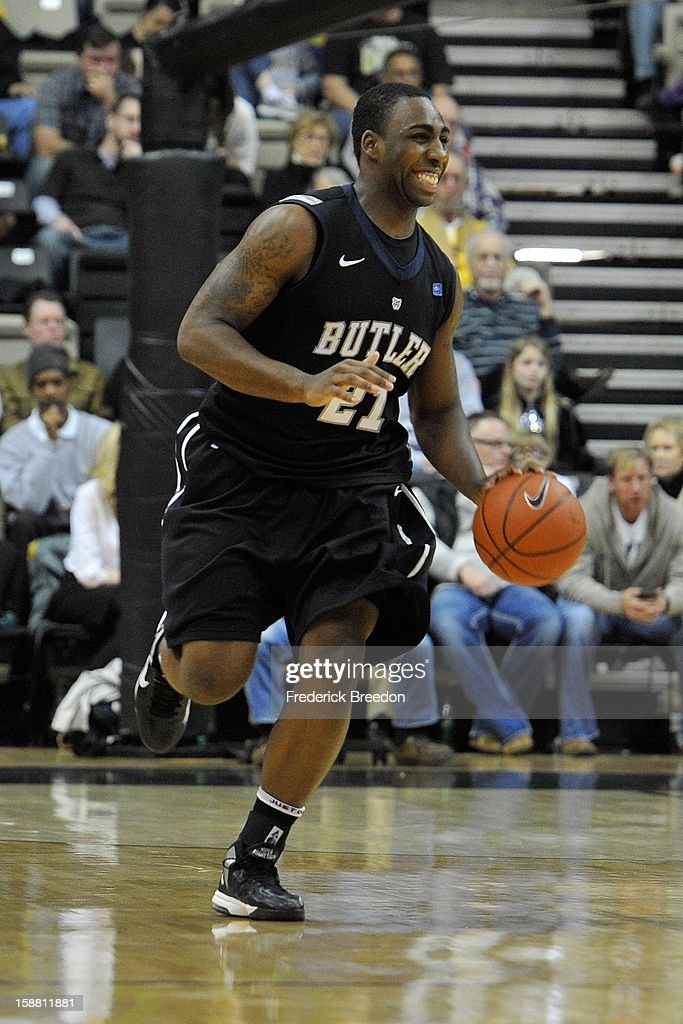 Roosevelt Jones #21 of the Butler Bulldogs plays against the Vanderbilt Commodores at Memorial Gym on December 29, 2012 in Nashville, Tennessee.