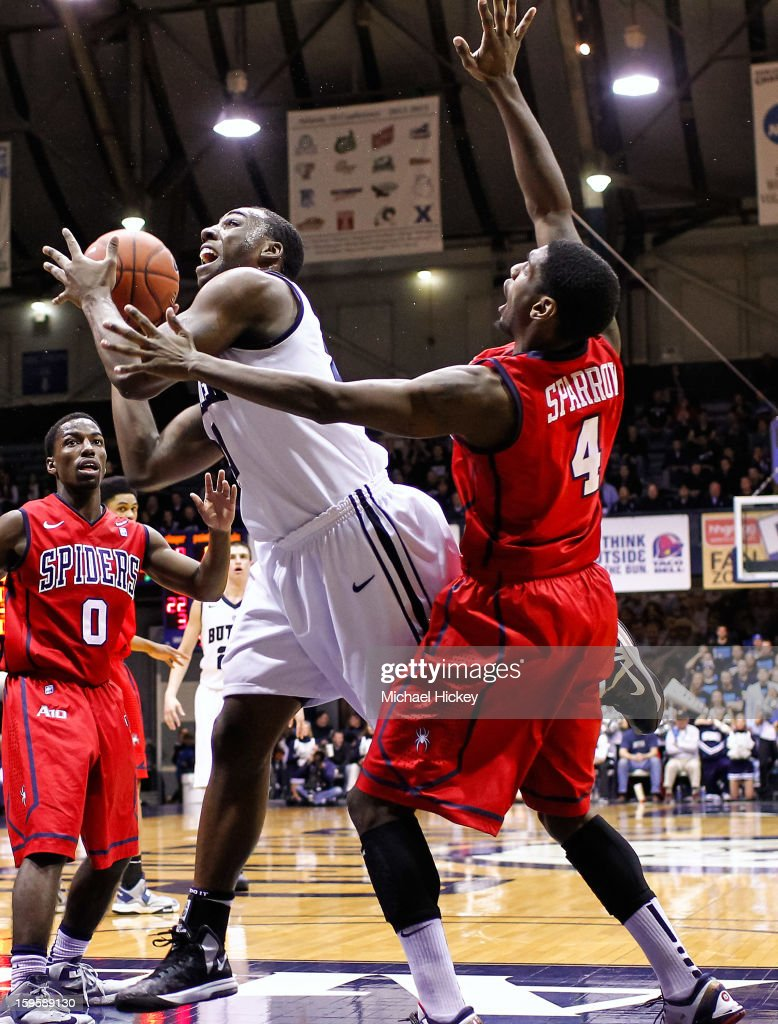 Roosevelt Jones #21 of the Butler Bulldogs shoots the ball as Wayne Sparrow #4 of the Richmond Spiders defends at Hinkle Fieldhouse on January 16, 2013 in Indianapolis, Indiana. Butler defeated Richmond 62-47.