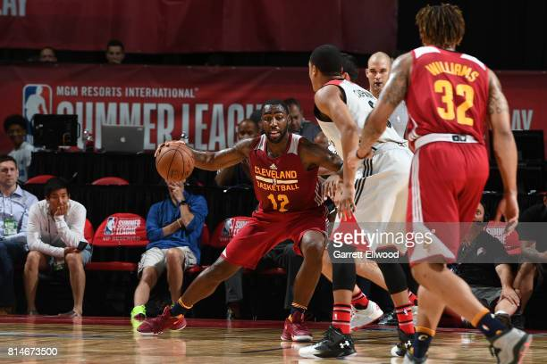 Roosevelt Jones of the Cleveland Cavaliers handles the ball against the Toronto Raptors on July 14 2017 at the Thomas Mack Center in Las Vegas Nevada...