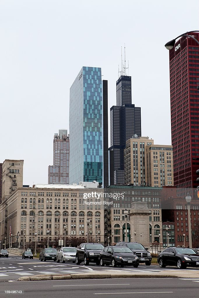 Roosevelt University Building, Willis Tower and partial view of the CNA Center, as photographed from Grant Park in Chicago, Illinois on JANUARY