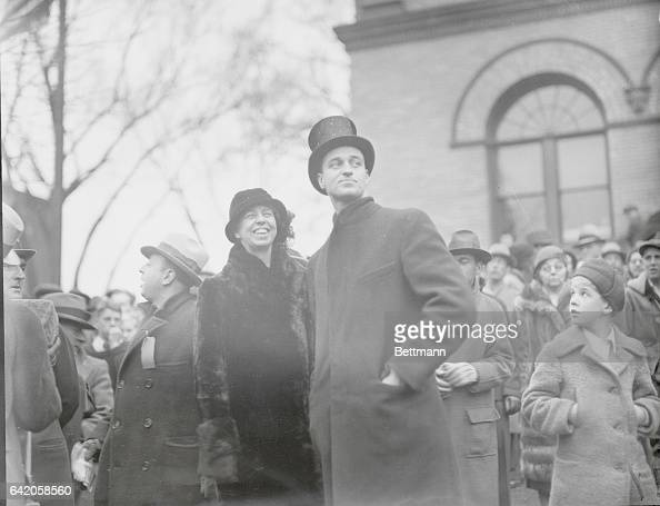 Roosevelt's Arrive for Coolidge Funeral Mrs Franklin D Roosevelt wife of the presidentelect and her son James are seen here at the Northampton Mass...