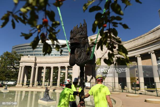 A rooster zodiac sculpture is the second sculpture by artist Ai Weiwei to be installed on October 4 2017 in Denver Colorado Denver Arts Venues brings...