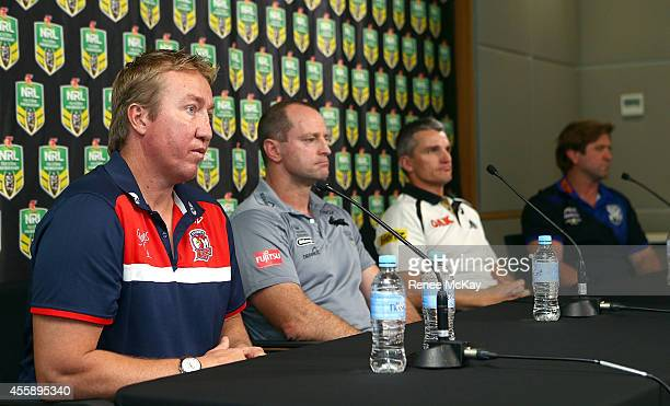 Roosters coach Trent Robinson Souths coach Michael Maguire Panthers coach Ivan Cleary and Bulldogs coach Des Hasler speak to the media during a NRL...