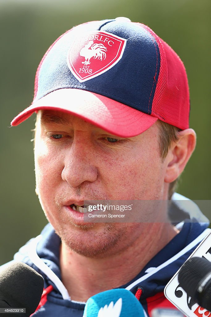 Roosters coach Trent Robinson talks to media during a Sydney Roosters NRL training session at Kippax Lake on September 3, 2014 in Sydney, Australia.